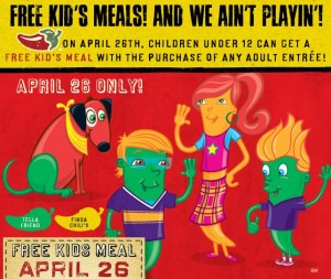 Chili's Free Kid's Meal April 26