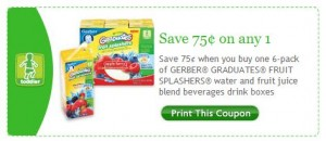 Gerber Graduates Fruit Splashers Printable Facebook Coupon