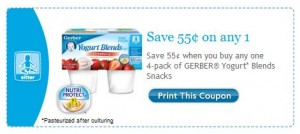 Gerber Yogart Blends Printable Facebook Coupon