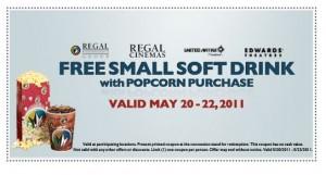 Regal Cinema Free Small Soda w Popcorn Purchase Printable Coupon