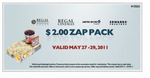 Regal Cinemas $2 Zap Pack Printable Coupon