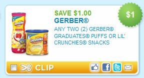 Gerber Graduates Puffs or Lil' Crunchies Snacks Printable Coupons