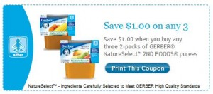 Gerber Nature Selects 2nd Foods Purees Printable Coupon