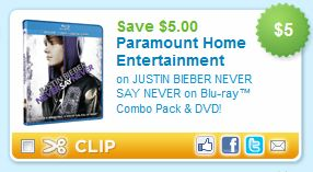 Justin Bieber Blu-ray Combo and DVD Printable Coupon