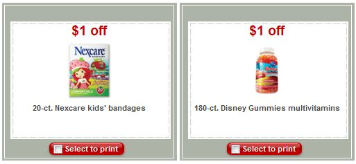 Target Disney Gummies Vitamins and Nexcare Bandages Coupons
