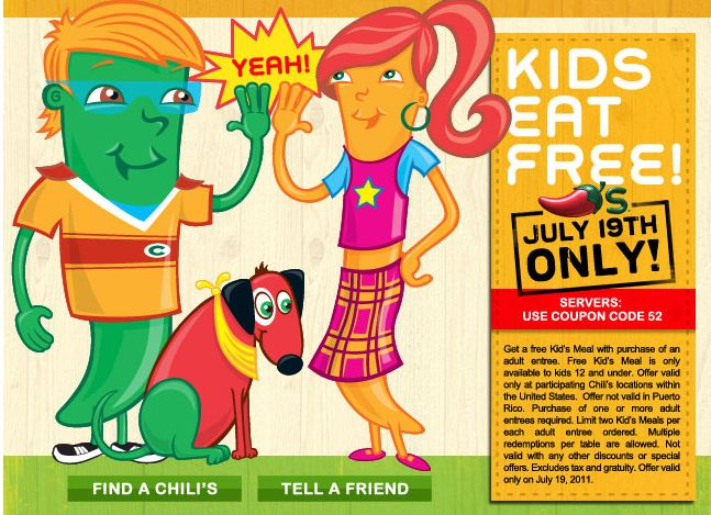 Chili's Free Kids Meal July 19