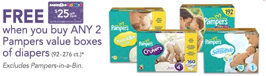 Free Babies R Us $25 Gift Card when you buy 2 Pampers Diapers
