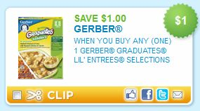 Gerber Graduates Lil' Entrees $1 Off Printable Coupon