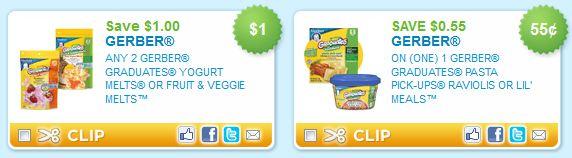 Gerber Graduates Yogurt Bites & Pasta Printable Coupons