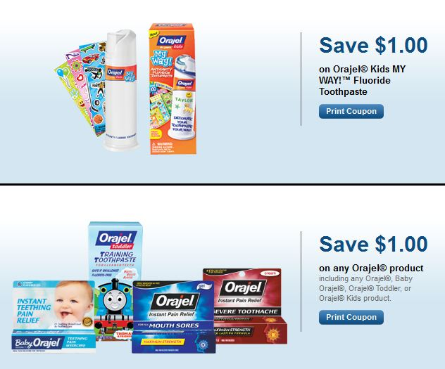 Orajel Training and Kids Toothpaste and Teething Relief Printable Coupons