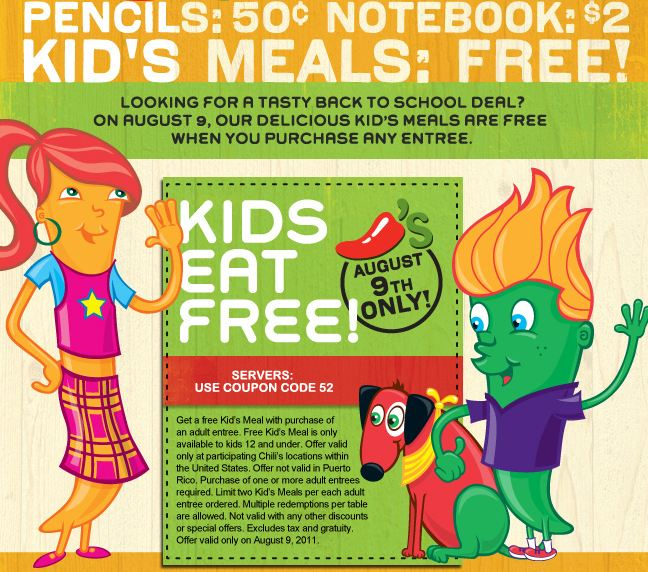 Chili's Kids Eat Free August 9