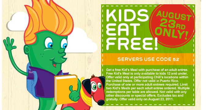 Chilis Kids Eat Free Tuesday August 23