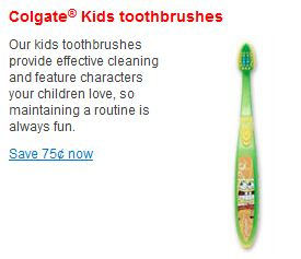 Colgate Kids toothbrush coupon