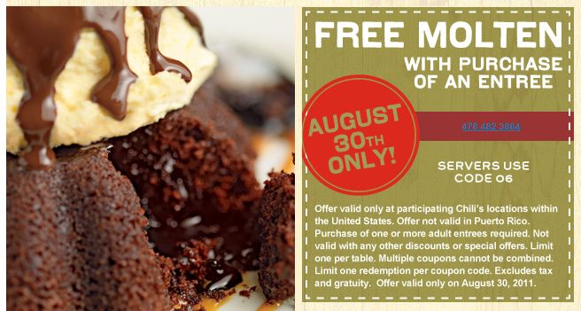 Free Chili's Coupons – Molten Cake and Chips and Queso