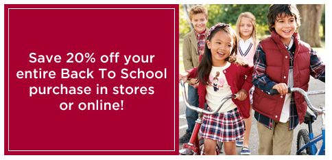 Gymboree printable coupon and back to school sale