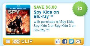 Spy Kids Blu-Ray Printable Coupon