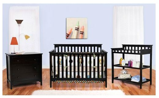 BSF Baby - Grace 4-in-1 Crib, Changing Table and Clothing Organizer, Espresso