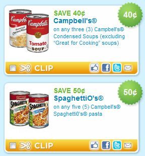 Campbells Soups and Spaghettios printable coupons