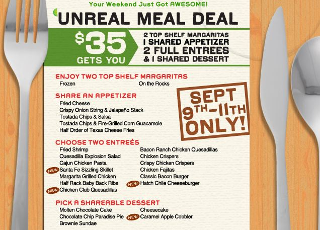 Chili's Unreal Meal Deal Coupon