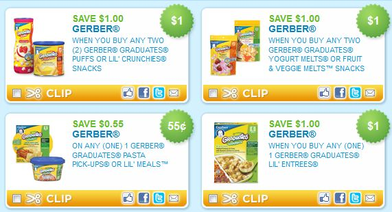 Gerber Coupons & Gerber Deals If you are looking for Gerber Coupons you have come to the right place! Below you will find a list of all the current Gerber Printable Coupons as well as other known Gerber Coupons such as Gerber insert coupons from the Sunday papers, Gerber coupon peelies, Gerber coupon tearpads and any other possible Gerber.