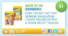 Gerber Graduates Yogurt Melts or Fruit and Veggie Melts Printable Coupon