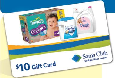 Sam's Club 10 Gift Card with Baby Purchase and Free Huggies Diaper Sample