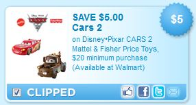 Disney Pixar Cars 2 Toys Printable Coupon