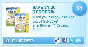 Gerber SmartNourish Organic Baby Cereal Printable Coupons