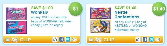 Halloween Candy Printable Coupons  Nestle and Wonka