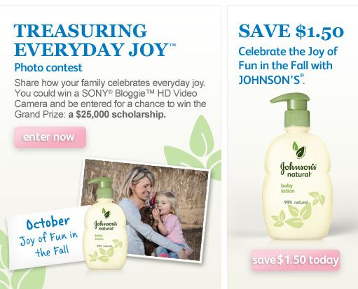 Johnson's Natural Baby Product Coupon and Johnsons Baby Monthly Photo Contest