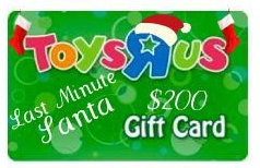 Last Minute Santa 200 Toys R Us Gift Card Giveaway