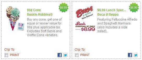 RedPlum Restaurant Coupons Burger King Baskin Robbins Buca di Beppo