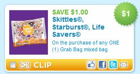 Skittles, Starburst, Lifesavers Halloween Candy printable coupon