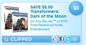 Transformers Dark of the Moon Blu-ray or DVD printable coupon