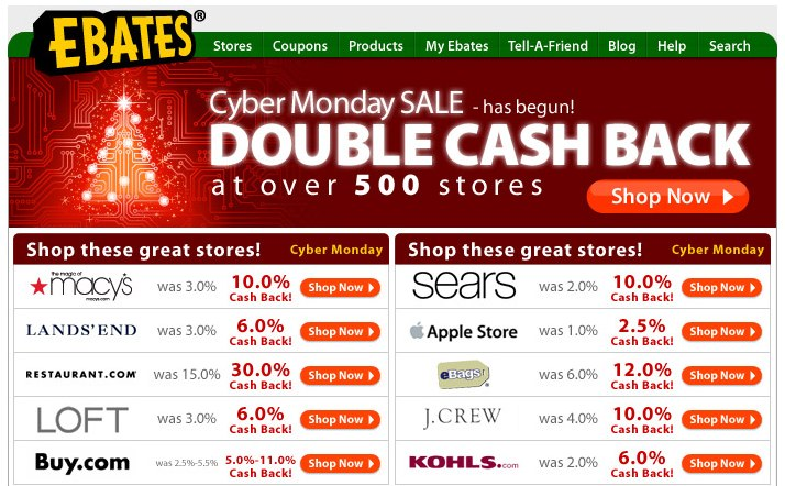 Ebates Cyber Monday Double Cash Back