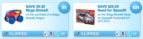 Mega Bloks Wagon and Need for Speed Printable Coupons