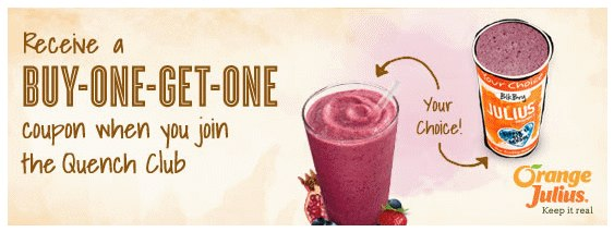 Orange Julius - BUY-ONE-GET-ONE Free Coupon
