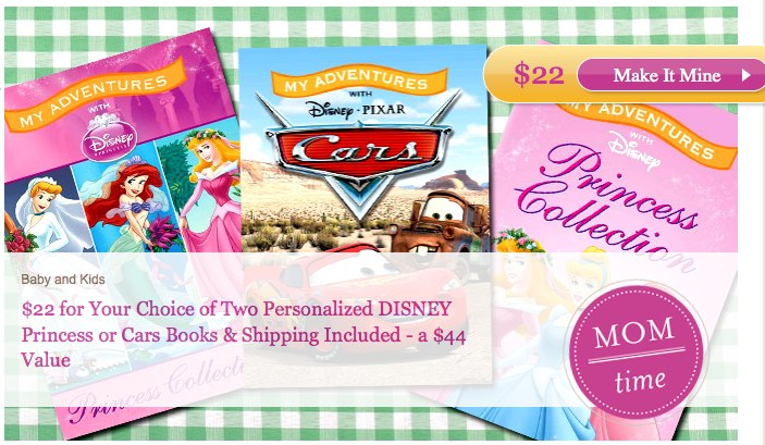 Plum District 2 Personalized Disney Princess or Cars Books only $12 or $7 for new members