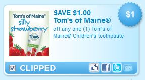 Tom's of Maine Children's Toothpaste Printable Coupon