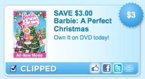 Barbie A Perfect Christmas DVD printable coupon-1