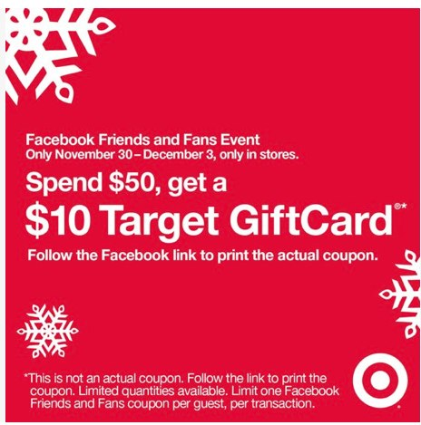 Target Spend 50 Get 10 printable coupon