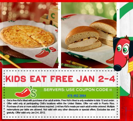 Chili's Kids Eat Free January 3-4