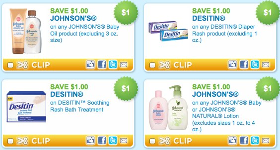 Johnsons Baby, Johsnons Natural, Desitin printable coupons