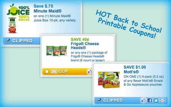 Back to School Pritnable Grocery Coupons