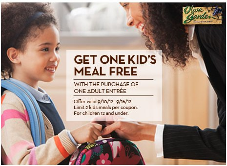 Olive Garden Free Kid's Meal Coupon